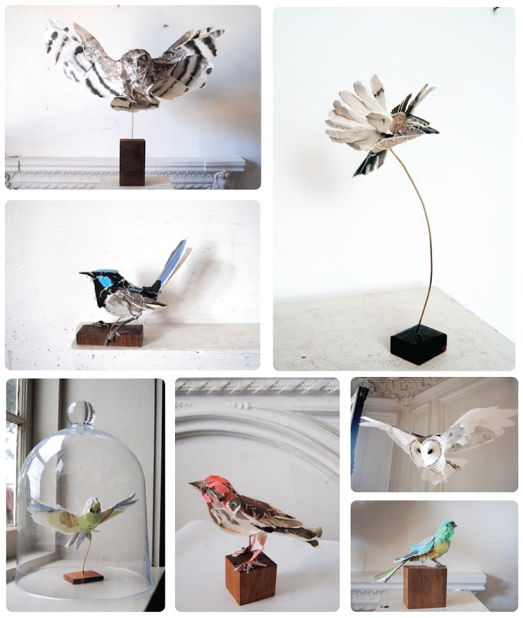 Papier Mache Birds by Anna-Wili Highfield