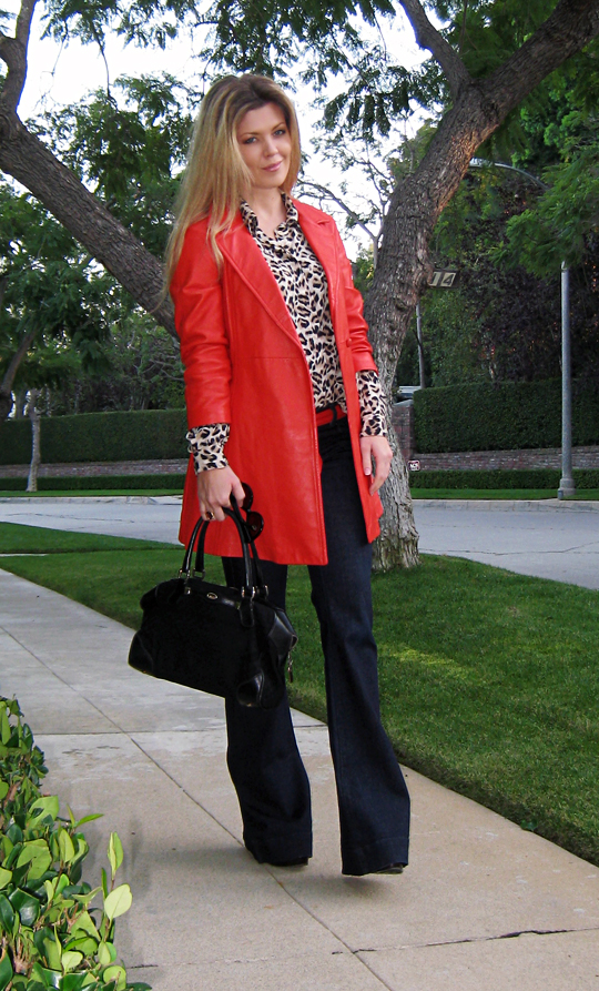 red leather jacket with j brand love story flares leopard print blouse - 2