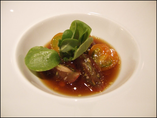 Manresa (Los Gatos) - Golden purslane and tomato w/ smoked roe, roast tuna juice