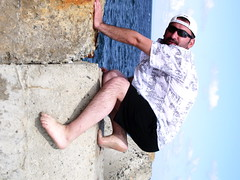 Climbing Up The Walls... (el_torrogreggo) Tags: bear man beach up beard climb walls lastsummer