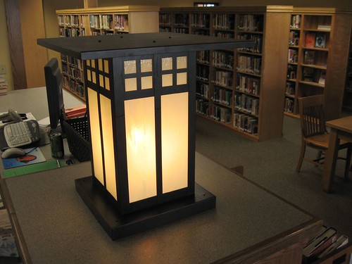 Photo 'Big lamp on desk', Bowman Library