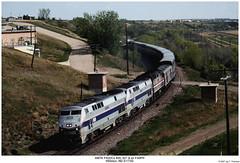 Amtrak P40DCs 809, 827 and an F40PH (Robert W. Thomson) Tags: amtrak amtk ge emd diesel locomotive fouraxle p40dc p42dc amd103 genesis f40ph train trains trainengine passengertrain empirebuilder railroad railway williston northdakota