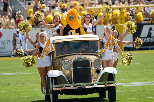 The Ramblin' Wreck and Georgia Tech cheerleaders at Georgia Tech-Samford University college football game