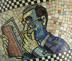 "Reading Man Detail, George F. Fishman's 1991 Mosaic ""Faces Of Flower Avenue"" (Silver Spring, MD) (takomabibelot) Tags: man geotagged reading book mosaic maryland eyeglasses silverspring montgomerycounty floweravenue facesoffloweravenue mcnppc geo:lat=38999615 geo:lon=77004094 georgeffishman floweravenueurbanpark"