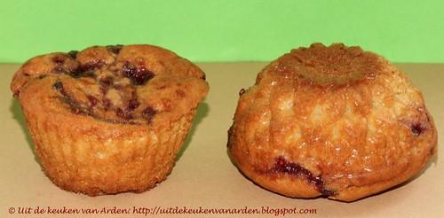 Muffins met roomkaas en jam
