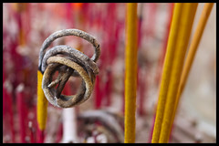 Incense curl, PTT Buddhist Society (Eric Flexyourhead (Onoharahigashi)) Tags: pink canada detail macro yellow vancouver circle temple chinatown bc bokeh britishcolumbia buddhist arc buddhism ashes curl strathcona curve incense zd 50mmmacro20 50mmmacrof20 olympuse3 pttbuddhistsociety