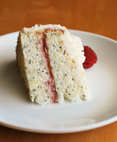 Lemon Poppy Seed Cake with Raspberry Curd Filling - I use this recipe for my birthday cake every year! It's perfect.