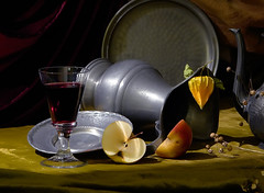 Glass of Wine & Apple (Arunas S) Tags: stilllife art apple glass tin evening chaos wine artistic antique burgundy interior plate calm baltic retro tenn jug vase tina historical weathered pitcher mossy lithuania flax sn claret naturemorte physalis tinn latta naturemort bordo zinn estao estanho landa sugarbasin arunas  waterpitcher cyna contemporaryartsociety kalay natiurmortas dtain  stannum     alavas rememberthatmoment rememberthatmomentlevel4 rememberthatmomentlevel1 rememberthatmomentlevel2 rememberthatmomentlevel3 rememberthatmomentlevel7 rememberthatmomentlevel9 rememberthatmomentlevel5 rememberthatmomentlevel6 rememberthatmomentlevel8