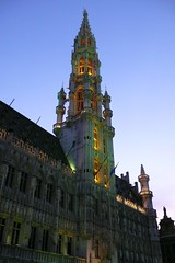 Old town hall /   (mitko_denev) Tags: brussels sky evening belgium grandplace townhall