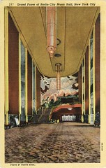 Radio City Music Hall, New York City NY, Thirties (Roloff) Tags: newyorkcity cinema film vintage movie geotagged kino theatre linen interior postcard scan chandelier radiocitymusichall movietheater bioscoop cin concerthall fountainofyouth avenueoftheamericas rcmh tarjetapostal ezrawinter curteich 8ah427