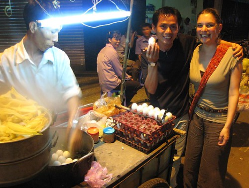 Girlie and Hai and Hot Vit Lon.  Otherwise known as balut.