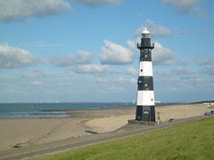 Beach at Groede (Netherlands) (christianstobbe) Tags: sea lighthouse holland beach netherlands strand coast meer zeeland nordsee leuchtturm niederlande kste kueste breskens groede