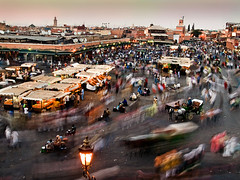 Djemaa el Fna (Modest Janicki (Modest and Jill)) Tags: longexposure travel square movement market marakesh morocco marrakech medina marrakesh bazaar oldtown djemaaelfna  714mm dopplr:eat=j951