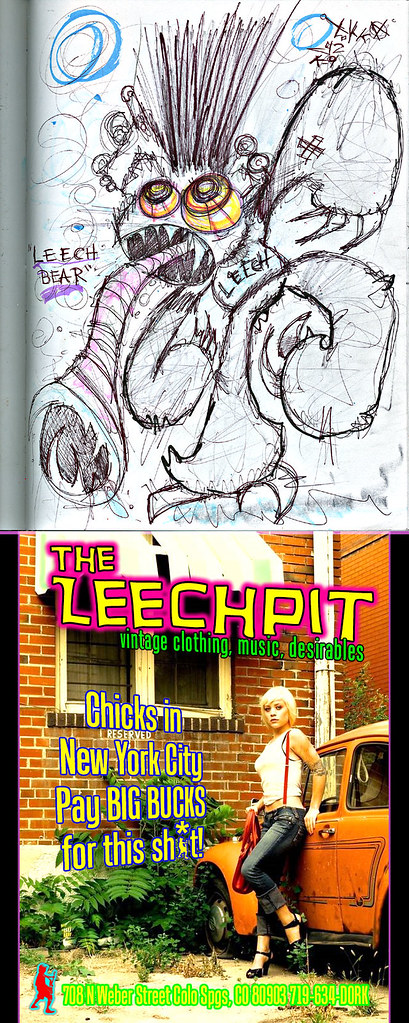 """LEECH BEAR ""  - i  [[ Proposed spot ad / character design for The LEECHPIT, Colorado Springs ]]"