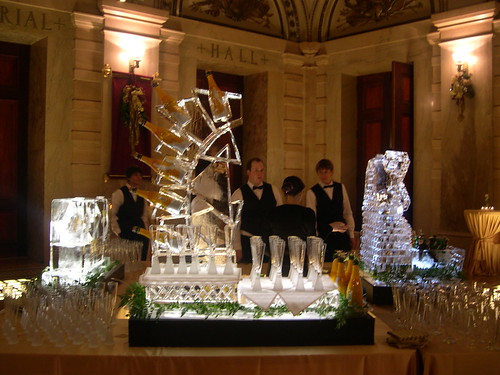 Triangles Champagne Display ice sculpture