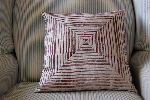 handprinted linen pillow, the striped side