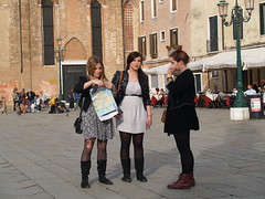 Campo Santo Stefano (eric journey) Tags: venice italy fashion women europe map candid style tights tourists trio venezia camposantostefano