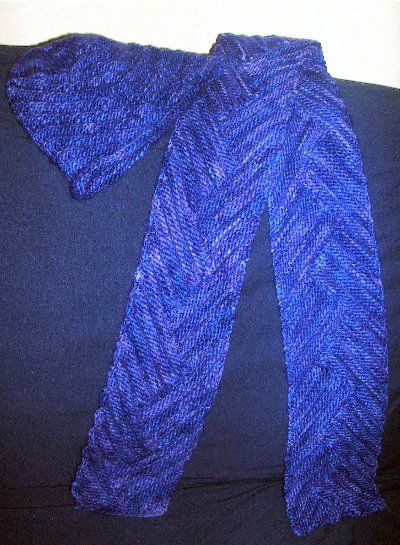Short Row Rib scarf and matching hat