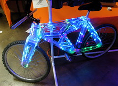 Tron Bike (jurvetson) Tags: bike electric lights tron theelectrichorseman robertredford makerfaire makerfaire2007