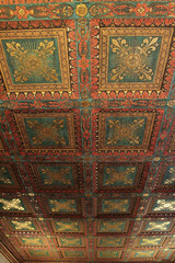 Painted wooden ceiling inside the medieval Palazzo Vecchio, Florence (Mirjam75) Tags: italy painting florence italia medieval ceiling tuscany townhall firenze toscana toscane itali palazzovecchio decorativearts italiamedievale