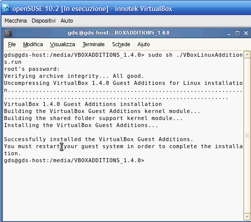 VirtualBox - Guest Additions - compilazione completata, riavviare il sistema!