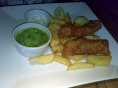 Homemade fish fingers at Revolution bar, Edinburgh