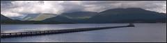 Blue Streak: Loch Creran (panorama) (spodzone) Tags: blue sky panorama sunlight white mountains reflection composition landscape scotland colours argyll diagonal walkway leadingline lochcreran