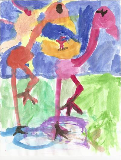 Sarah's flamingo family