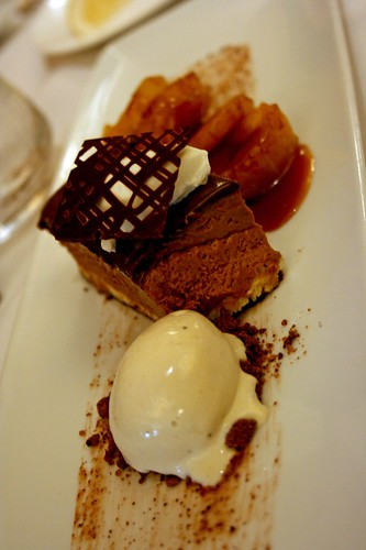 Triple Chocolate Terrine with Banana Ice Cream and Caramelized Plantains