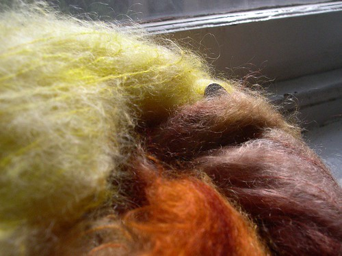 yellow-orange-brown mohair