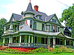 Cotton broker's dream (Texas Finn) Tags: blue windows red chimney house detail green home colors architecture stairs texas queenanne palestine balcony columns victorian molding historic explore porch round attic mansion lime railing trim twostory turret gable preservation porches