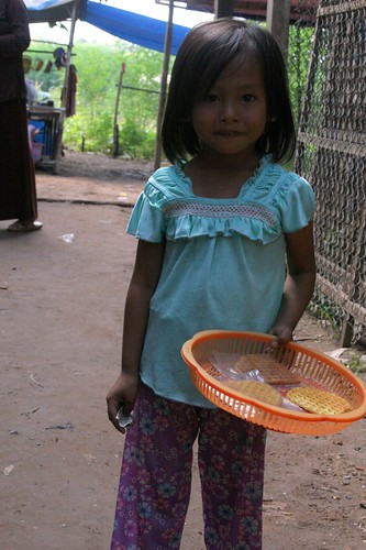 Girl selling snacks
