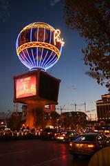 The Paris hotel balloon & cranes at sunset (2007) (Jay Tilston) Tags: las vegas paris construction balloon cranes