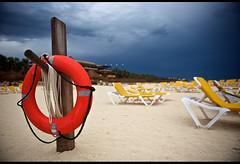 right before the storm (williwieberg) Tags: blue red beach mexico hotel playadelcarmen explore rivieramaya lifesaver quintanaroo caribbeansea iberostartucan d700 2470mmf28g playadelcar