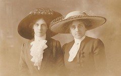 Minnie Smith (and sister?) (Richard and Gill) Tags: old family portrait blackandwhite fashion sepia liverpool vintage familyhistory victorian hats smith genealogy ancestors greatgrandmother millinery purtell minniesmith