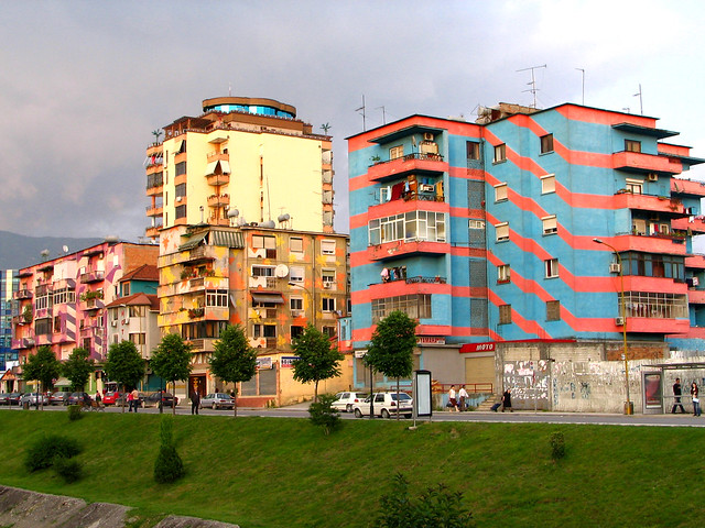 The colourful apartment buildings of Tirana