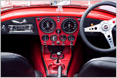 Scarlet Allard (Sikario) Tags: show red slr 20d classic car leather canon scarlet t eos 50mm interior contax palmbeach manualfocus cy hertfordshire hoddesdon dials allard herts f17