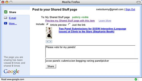 Google Shared Stuff Email / Share Bookmarklet Pane