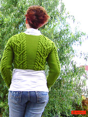 Aran Mini Wrap (sew-mad) Tags: green wool sweater knitting handmade cable cables online aran pullover cora sewmadbadge sewmad linie20
