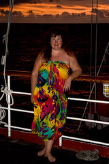 Debbie at Sunset (SunCat) Tags: travel cruise sunset vacation woman friend costarica girlfriend all bbw wrap spouse wife windjammer debbie sweetheart lover mate companion legacy sarong soulmate 2007 pareo drakesbay braless confidante so