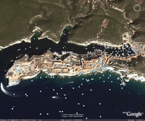 Bonifacio, sur Google Earth