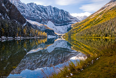 Taylor Lake (Marc Shandro) Tags: autumn lake mountains reflection fall alberta larch banffpark