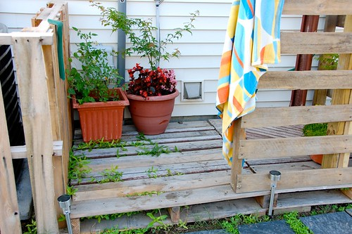pallet outdoor shower area