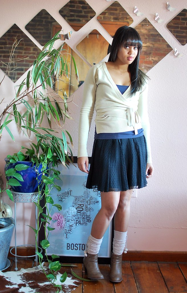 pleated skirt with ankle socks and booties