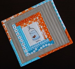 Goldfish Mug Rug (Mary1602) Tags: goldfish heatherross fishinbags orangeandaqua