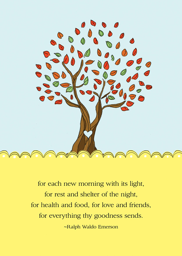 Gratitude Tree Free  5x7 mini print, Ralph Waldo Emerson quotes
