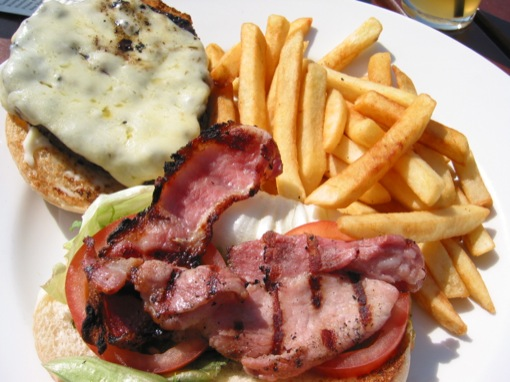 bacon cheese burger with fries