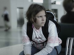 Layovers (pennyzphotolane) Tags: pink chicago girl kids airport ohare backpack penny hansen chldren pelot pennyzphotolane