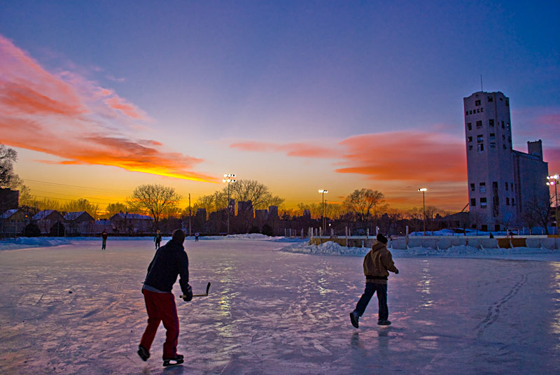 skaters at sunset