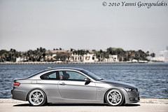 Bmw 335i Side View (Yankis) Tags: auto blue sky water car grey bay nikon florida miami corse space wheels gray bmw lc rims sick 2008 coupe dropped linea matheson beemer kw coilovers yanni bimmer 335 dyn e92 335i dynas georgoulakis